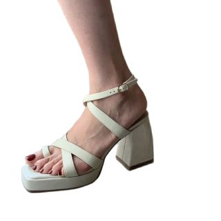 Arden Furtado Summer Fashion Women's Shoes Sexy Genuine Leather  Buckle Narrow Band  Elegant Chunky Heels Sandals