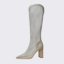Arden Furtado Summer Fashion Women's Shoes Elegant  Back zipper Mesh Boots Knee High Boots Chunky Heels 33 40