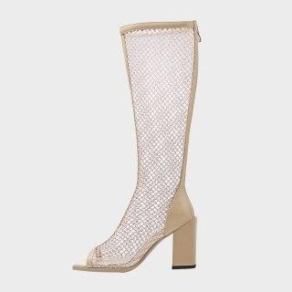 Arden Furtado Summer Fashion Women's Shoes Elegant  Back Peep Toe  Zipper Mesh Boots Knee High Boots Chunky Heels 34-43