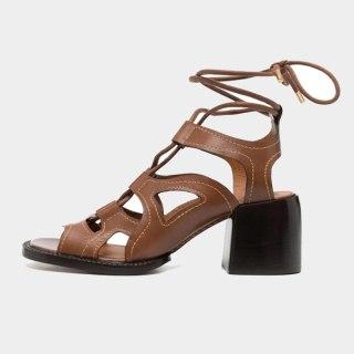 Arden Furtado Summer Fashion Women's Shoes Sexy Genuine Leather Brown  Narrow Band  Elegant Chunky Heels Sandals