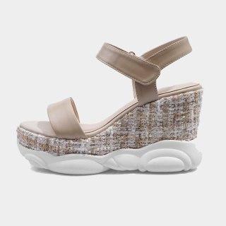 Arden Furtado Summer Fashion Women's Shoes Sexy Hook & Loop Genuine Leather Wedges Waterproof Narrow Band  Sandals