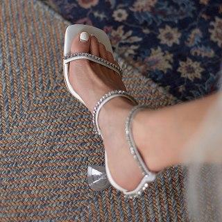 Arden Furtado Summer Fashion Women's Shoes Sexy  Genuine Leather  Buckle Narrow Band Elegant Stilettos Heels  Sandals 42 43