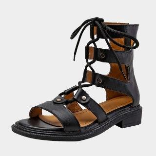 Arden Furtado Summer Fashion Women's Shoes Sexy Genuine Leather Brown Gladiator Narrow Band  Elegant  Sandals 40
