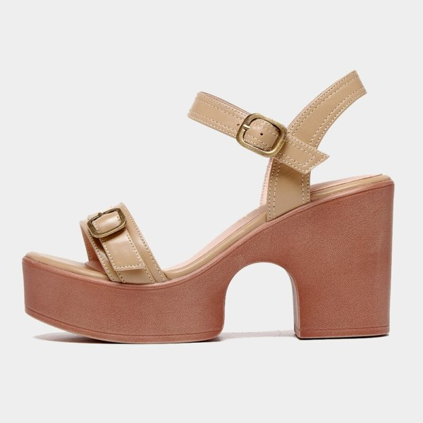 Arden Furtado Summer Fashion Women's Shoes Sexy Waterproof Genuine Leather  Buckle Narrow Band  Chunky Heels Sandals
