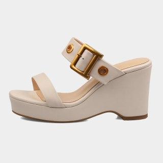 Arden Furtado  Summer Fashion Women's Shoes Narrow Band  Wedges Heels Ladies Straw Platform Genuine Leather Slippers  New