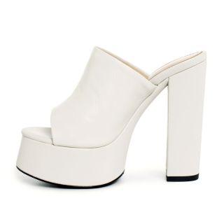 Arden Furtado 2021 Summer Fashion Women's Shoes Apricot Heels Metal Chains Chunky Heels Platform Ladies Slippers 40 41