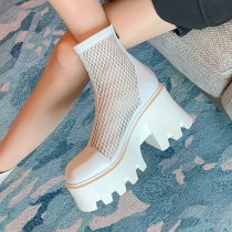Arden Furtado Summer Fashion Women's Shoes Chunky Heels Matin Boots Mesh Boots White Ankle Boots ladies Genuine Leather 40 41