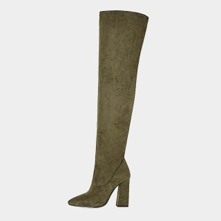 Arden Furtado Fashion Women's Shoes Winter  Sexy Serpentine Pointed Toe Chunky Heels  New Zipper Over The Knee High Boots