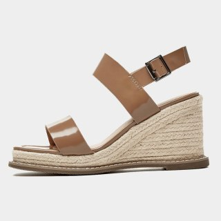 Arden Furtado  Summer Fashion Women's Shoes Buckle Wedges Square Head Sexy Elegant Genuine Leather  Sandals