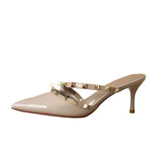 Arden Furtado Summer Fashion Women's Shoes Genuine Leather Green Nude Elegant Stilettos Heels  Slippers 6cm Mules Rivet
