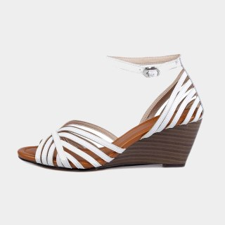Arden Furtado  Summer Fashion Women's Shoes Buckle Pure Color White Wedges Sexy Elegant Genuine Leather  Cage Sandals