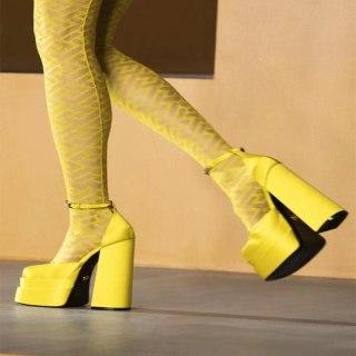 Arden Furtado Spring Autumn Chunky Heels Buckle Strap Sexy New Platform Square Head Pumps White High Heels 42 43