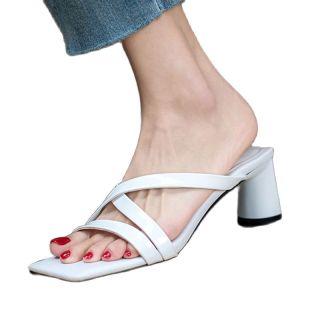 Arden Furtado Summer Fashion Women's Shoes Sexy Genuine Leather Square Head Elegant Block Heels Slippers Chunky Heels White