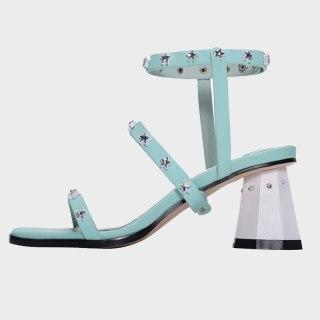 Arden Furtado Summer Fashion Women's Shoes Narrow Band Buckle Narrow Band  White Sexy Chunky Heels White Sandals  41 42