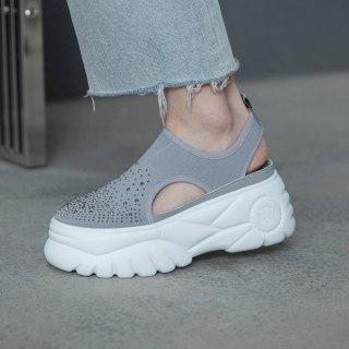 Arden Furtado Summer  Fashion Women's Shoes Gray Flat  Slip-on Leisure Platform Casual Shoes Comfortable