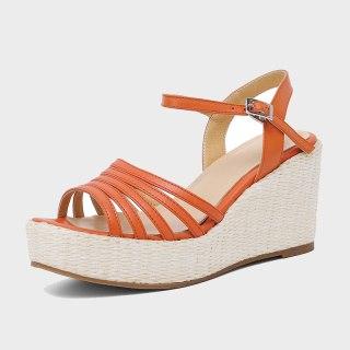 Arden Furtado 2021 Summer Platform Wedges Sandals High Heels Orange Genuine Leather Narrow Band  Women's Shoes Party Shoes 41