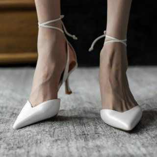 Arden Furtado 2021 Summer Fashion Women's Shoes Pure Color Sexy Elegant Pointed Toe Ankle Strap White Sandals Size33 40