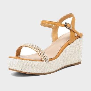 Arden Furtado 2021 Summer Platform Wedges platform Sandals High Heels Genuine Leather Narrow Band  Women's Shoes Party Shoes 33
