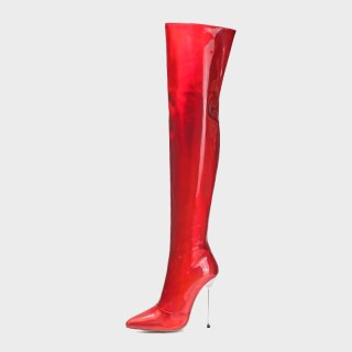 Arden Furtado Fashion Shoes Winter Red Pointed Toe Stilettos Heels Zipper Elegant Ladies Boots Concise Red  Women's Boots 45