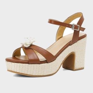 Arden Furtado 2021 Summer Chunky heels Genuine Leather  Buckle Sandals High Heels Women's Shoes Platform Brown Party Shoes