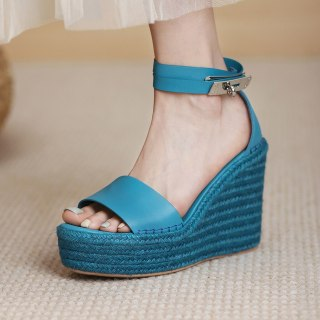 Arden Furtado 2021 Summer Platform Wedges Sandals  Genuine Leather Narrow Band Women's Shoes Party Shoes 40 41
