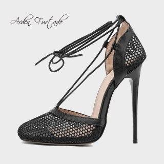 Arden Furtado Summer Fashion Women's Shoes Mesh  Sexy Elegant Stilettos Heels White Ankle Strap Sandals Classics  33 40