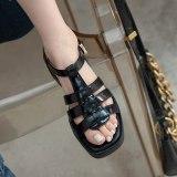Arden Furtado 2021 Summer Flats Genuine Leather  Brpwn Buckle Sandals High Heels Leisure Women's Shoes Platform 40