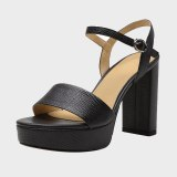 Arden Furtado 2021 Summer Chunky Heels Buckle Blue  Sandals Block  High Heels Women's Shoes Platform Party Shoes 33 40