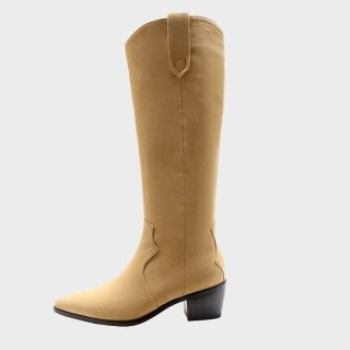 Arden Furtado  Winter Fashion Women's Shoes Pointed Toe  Sexy New Genuine Leather Brown Zipper Knee High Boots Long Boots 40