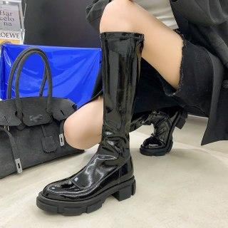 Arden Furtado  Winter Fashion Women's Shoes Sexy Chunky Heels Block Heels  New Round Toe  Knee High Boots New Long Boots 40