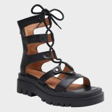 Arden Furtado 2021 Summer Flats Genuine Leather  Buckle Sandals High Heels Women's Shoes Platform Cross Lacing Party Shoes 40
