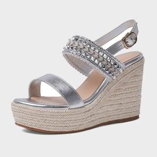 Arden Furtado 2021 Summer Platform Wedges Sandals Silver Classics  Narrow Band Women's Shoes Party Shoes
