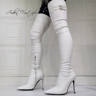 Arden Furtado Fashion Women's Shoes Winter  Sexy Pointed Toe New Zipper White Over The Knee High Boots Big Size 45 46 47