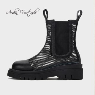 Arden Furtado Summer Fashion Women's Shoes Mesh Boots Genuine Leather Platform Round Toe Ankle Boots Half Boots