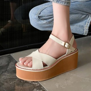 Arden Furtado 2021 Summer Flatforms Flats Buckle Sandals High Heels Genuine Leather Women's Shoes Platform 40
