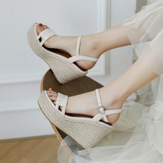 Arden Furtado 2021 Summer Platform Wedges Sandals Genuine Leather Green Off White Buckle Classics  Narrow Band  Party Shoes