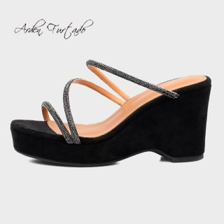 Arden Furtado 2021 Summer Fashion Women's Shoes Heels Wedges Nude Platform Ladies Genuine Leather Slippers