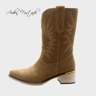 Arden Furtado  Winter Fashion Women's Shoes Brown Pointed Toe Slip-on  Sexy New Genuine Leather Brown Long Boots Half Boots 40