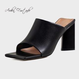 Arden Furtado 2021 Summer Fashion Women's Shoes  Chunky Heels White Ladies Square Head Genuine Leather Block heels Slippers 40