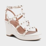 Arden Furtado 2021 Summer Platform Wedges Sandals Genuine Leather Green White Classics  Narrow Band Women's Shoes Party Shoes