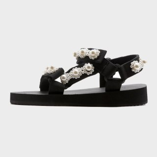 Arden Furtado 2021 Summer Pearl Flats Sandals Genuine  Classics  Narrow Band  Leisure Concise Party Shoes