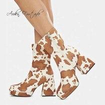 Arden Furtado 2021 Winter Fashion Boots Elegant Zipper Platform Leopard Print Ankle Boots Chunky Heels Block heels  Size 42 43