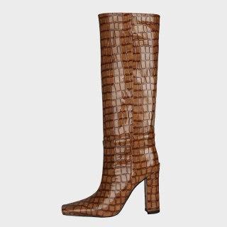 Arden Furtado 2021 Winter Fashion Boots Elegant Chunky Heels Block heels Slip on Square Head Ladies Shoes burgundy boots 41 42