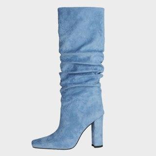 Arden Furtado Winter Fashion Boots Elegant Chunky Heels Blue Block Heels Slip On Square Head Ladies knee high boots Shoes 47