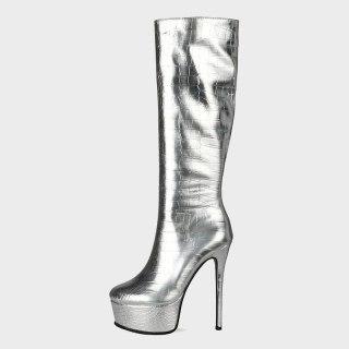 Arden Furtado Autumn Fashion Women's Shoes Sexy Platform Waterproof Pure Color Gold Silver  Knee High Boots Elegant 44 45