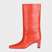 Arden Furtado Spring Autumn Winter Boots Shoes Elegant Knee High Boots Red  Square Head Slip-on Square Head Chunky Heels