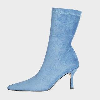 Arden Furtado 2021 Fashion Women's Shoes Pointed Toe Stilettos Heels Elegant Boots Blue Grey Yellow Short Boots 45