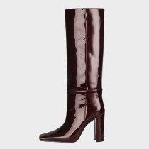Arden Furtado 2021 Winter Fashion Boots Elegant Zipper Chunky Heels Block Heels Slip On Square Head Ladies knee high boots Shoes