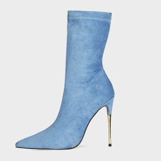 Arden Furtado 2021 Fashion Women's Shoes Pointed Toe Stilettos Heels Elegant Boots Blue Yellow Short Boots 44 43 45