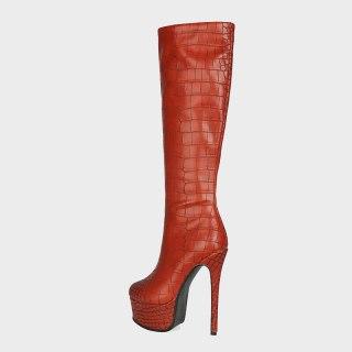 Arden Furtado Autumn Fashion Women's Shoes Sexy Platform Waterproof Pure Color Red Green  Knee High Boots Elegant 44 45